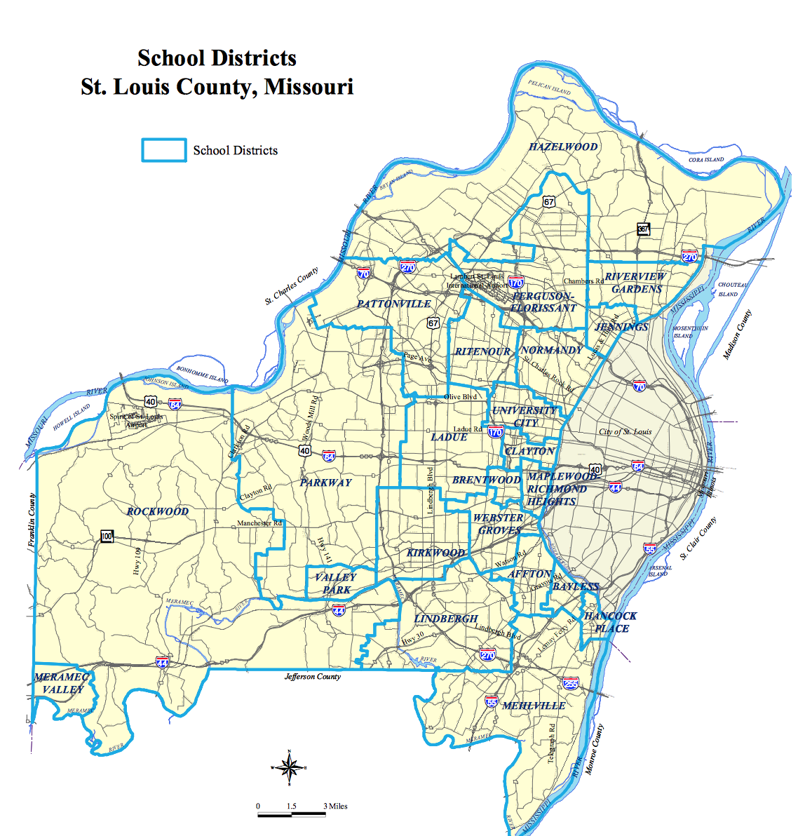 Map Of St Louis County St. Louis County School Boundary Map | Rent Solutions Map Of St Louis County